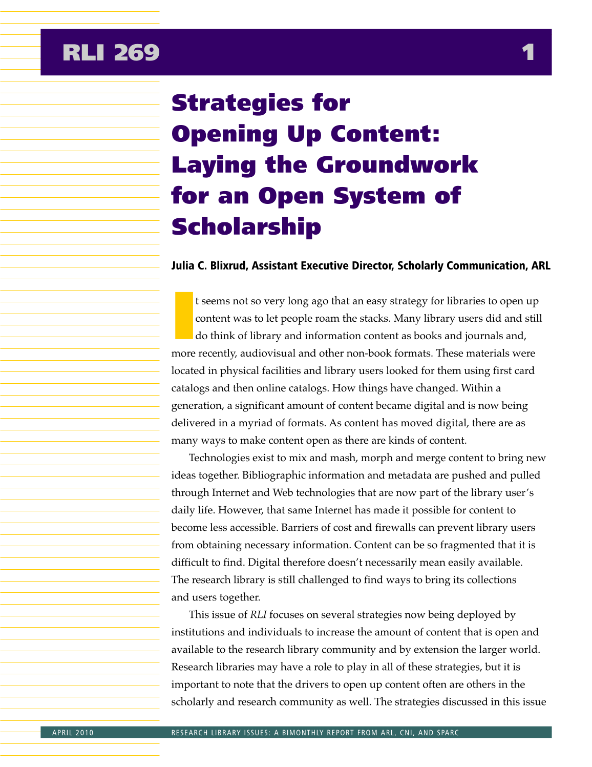 Research Library Issues, no. 269 (April 2010): Special Issue on Strategies for Opening Up Content page 2