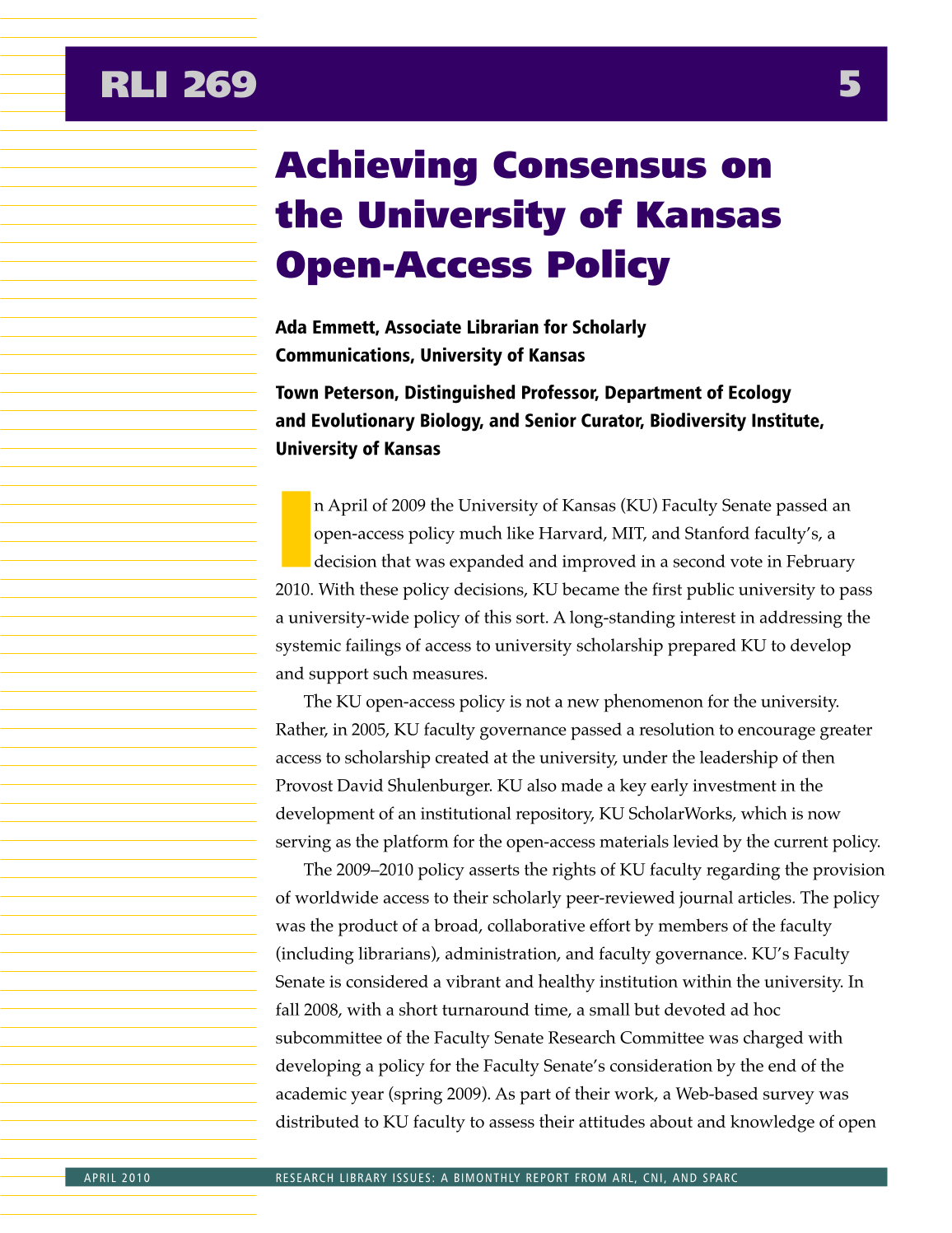 Research Library Issues, no. 269 (April 2010): Special Issue on Strategies for Opening Up Content page 6
