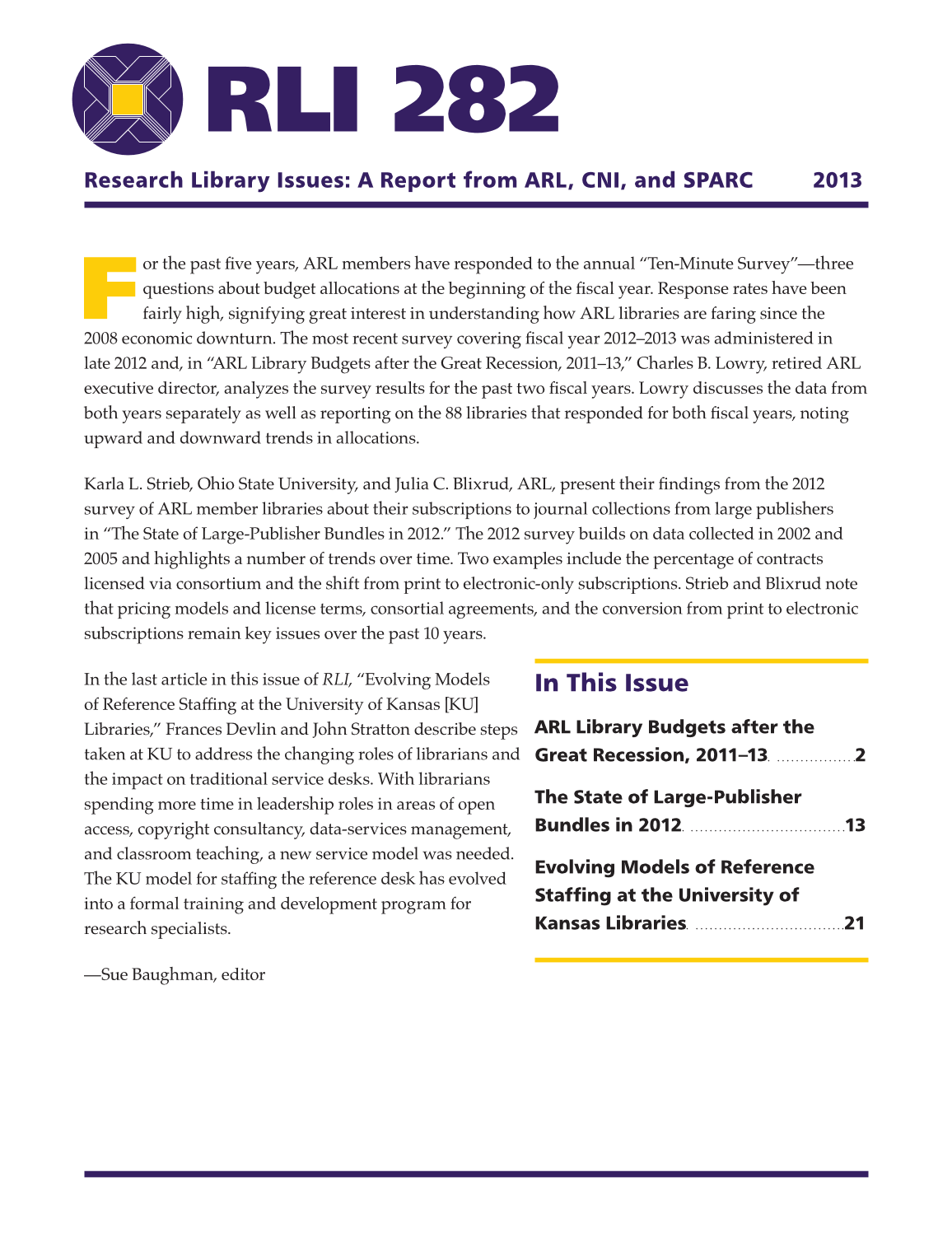 Research Library Issues, no. 282 (Spring 2013): Pre-pub of